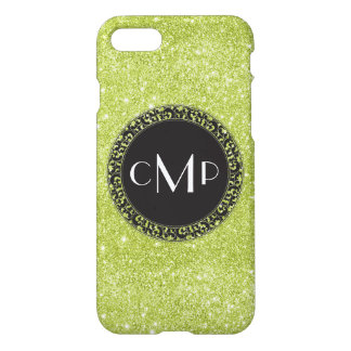 Green Glitter with Black Circle - iPhone 7 case