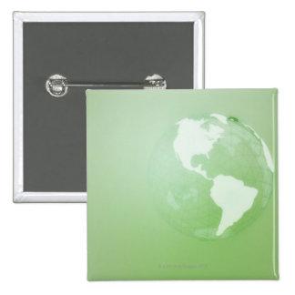 Green Globe 2 Inch Square Button