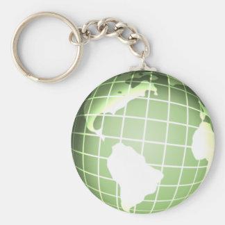 Green Globe Basic Round Button Keychain