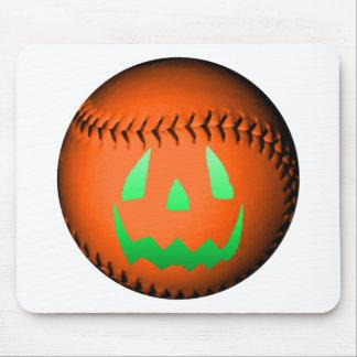 Green Glow Jack O' Lantern Baseball Mouse Pad