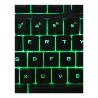 Green glow QWERTY computer keyboard keys Letterhead