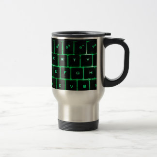Green glow QWERTY computer keyboard keys Travel Mug