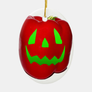Green Glow Red Bell Peppolantern Ceramic Ornament