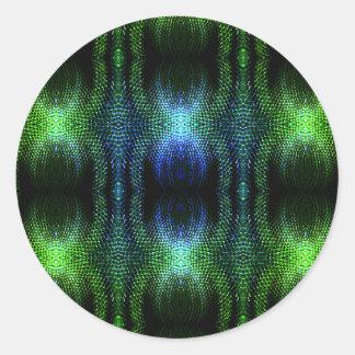 Green Glow Snake Skin Round Sticker