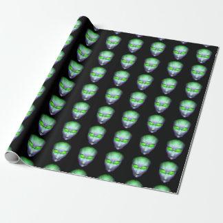 Green Glowing Eyes Alien Wrapping Paper
