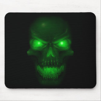 Green Glowing Skull Mouse Pad