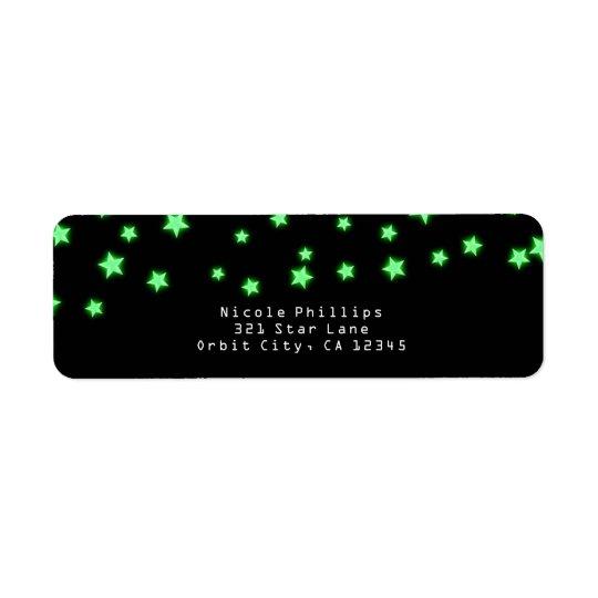 Green Glowing Stars Birthday Party Invitation