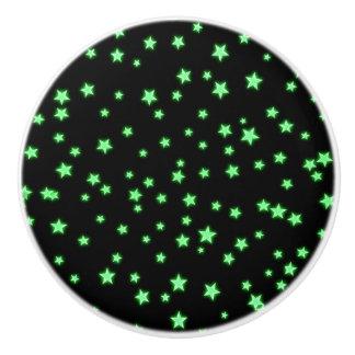 Green Glowing Stars on Black Space Bedroom Cool Ceramic Knob