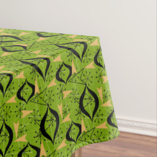 Green, Gold and Black Atomic | Mid-Century Modern Tablecloth