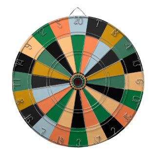 Green Gold and Orange Game Room Colors Dart Boards