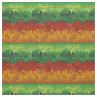 Green, Gold and Rust Fall Foliage Abstract Fabric