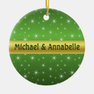 Green, Gold and Stars Personalized Ceramic Ornament