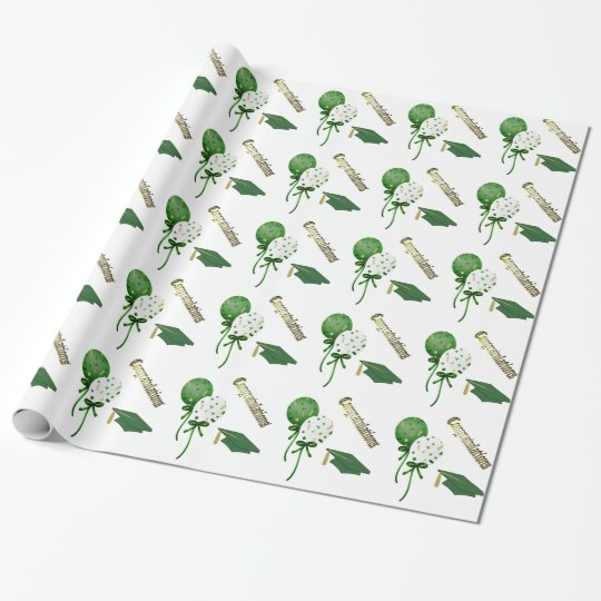 Green, Gold, and White Graduation Wrapping Paper