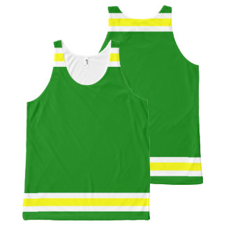 Green Gold and White Trim All-Over-Print Tank Top