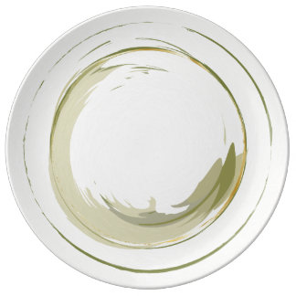 Green & Gold Brush Strokes - Ceramic Plate