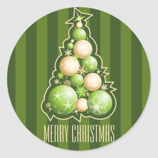 Green & Gold Bubbles Christmas Tree Classic Round Sticker
