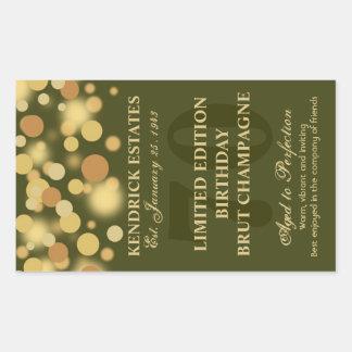 Green Gold Champagne Bubbles Birthday Label 750ml