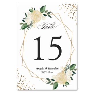Green Gold Chic Floral Modern Wedding Table Number