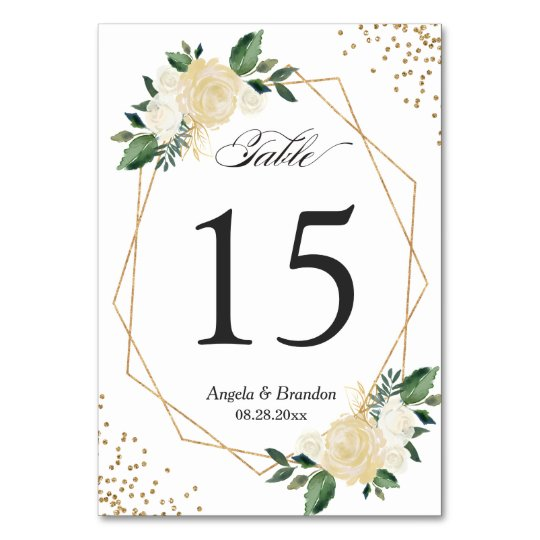 Table Numbers Wedding.Green Gold Chic Floral Modern Wedding Table Number