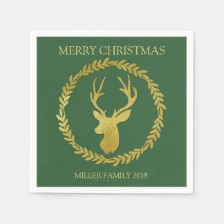 Green Gold Deer Wreath Custom Christmas Napkin Paper Napkins