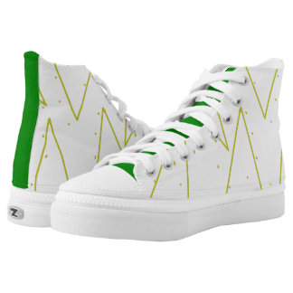Green Gold Dots Lines Sneakers