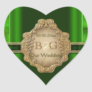 Green gold envelope wedding seal heart sticker