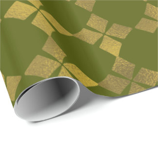 Green Gold Faux Foil Flower Pattern Paper Roll