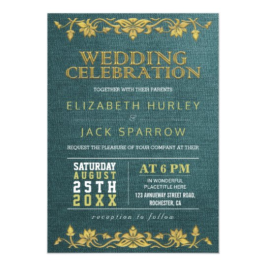 Green & Gold Floral Embroidery Wedding Invitations