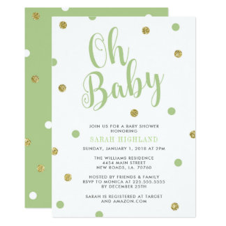 Green & Gold Glitter Oh Baby Shower Card