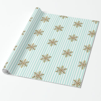 Green Gold Glitter Snowflakes Christmas Gift Wrap