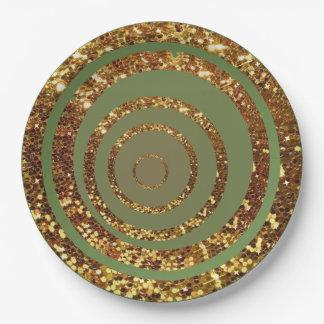 Green & Gold Glitter Swirl and Polka Dot Plates