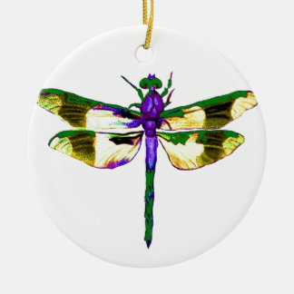 Green&  Gold Gossamer Dragonfly by Sharles Round Ceramic Ornament