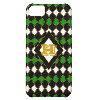 Green & Gold Harlequin Monogrammed iPhone 5C Cases