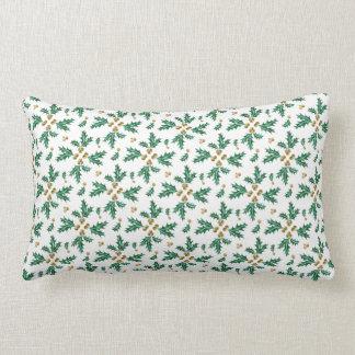 Green & Gold Holly Berries & Leaves in Watercolor Lumbar Pillow