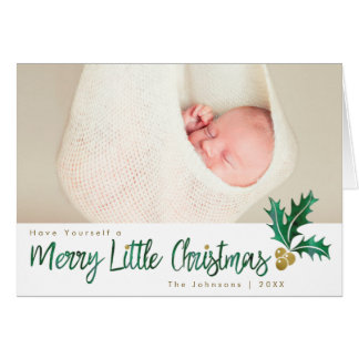 Green & Gold Merry Little Christmas BLANK INSIDE Card
