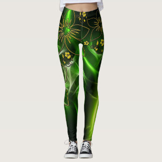 Green Gold Metallic Leggins Leggings
