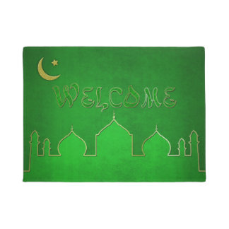 Green Gold Mosque Moon Star - Welcome Door Mat