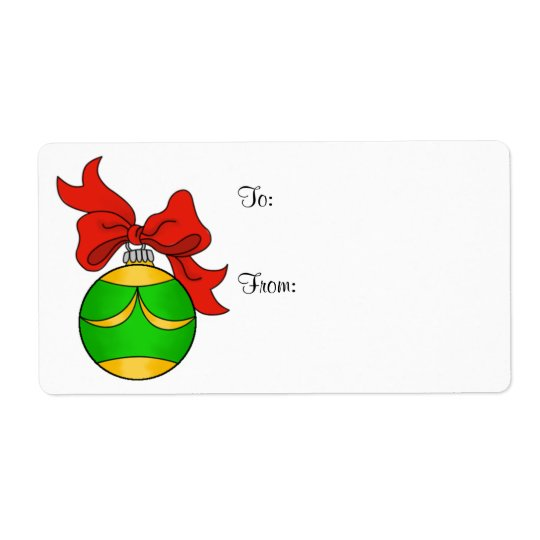 Green & Gold Ornament - Gift Label - Large