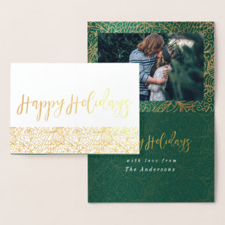 Green & Gold Ornate Happy Holidays Foil Card