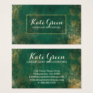 Green Gold Professional Accounting Elegant Frame Business Card