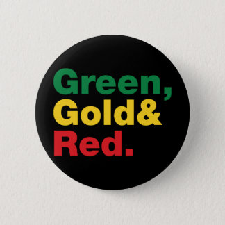 Green, Gold & Red. 2 Inch Round Button