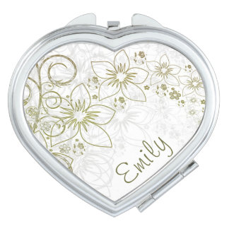 Green & Gold Simple Floral With Name Mirrors For Makeup