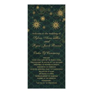 green gold Snowflakes wedding programs tea length Full Colour Rack Card
