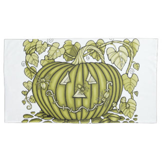 Green-Gold Spidery Pumpkin Pillowcase