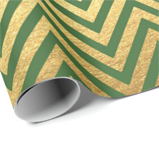 Green Gold Stripes  Herringbones  Zig Zag Chevron Wrapping Paper