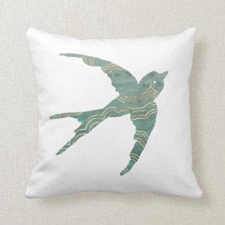 Green & Gold Swallow Throw Pillow