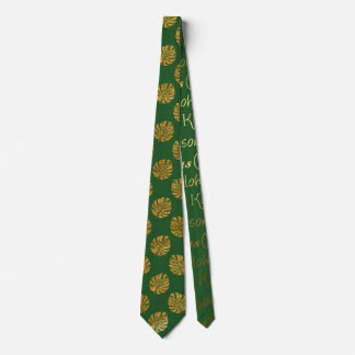 Green Gold Tropical Aloha Christmas Tie