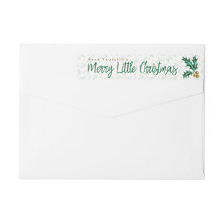 Green & Gold Watercolor Merry Little Christmas Wrap Around Label