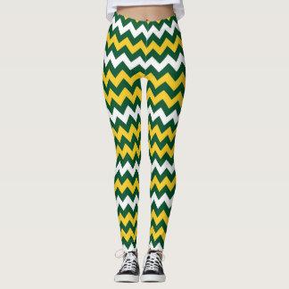 Green, gold Wisconsin Football Colors Greenbay Leggings