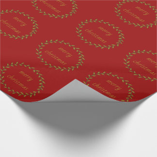 Green Gold Wreath on Red Personalized Wrapping Paper